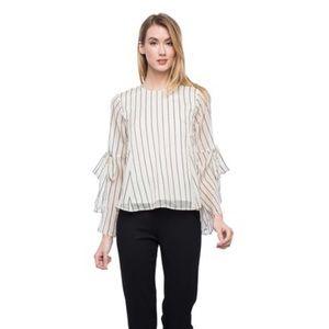 Line + dot white striped blouse semi sheer sz:M